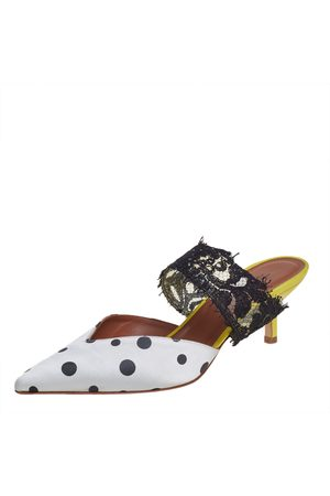 MALONE SOULIERS Women Mules - By Emanuel Ungaro /Black Polka Dot Satin And Lace Pointed Toe Mules Size 37