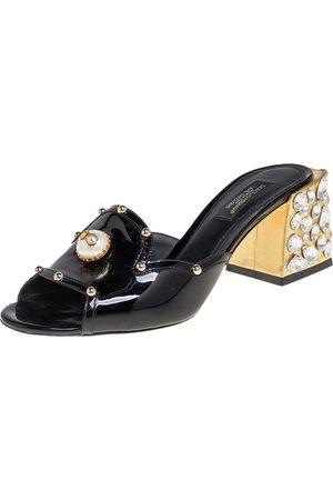 Dolce & Gabbana Patent Leather Crystal Embellishment Block Heel Mules Size 36