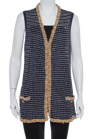 CHANEL Navy Knit Bead Embellished Hook Front Vest XL