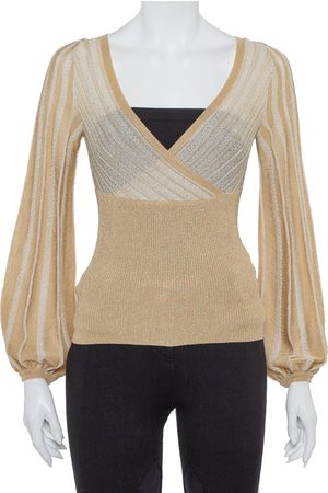 M Missoni Metallic Perforated Knit Fitted Long Sleeve Top S