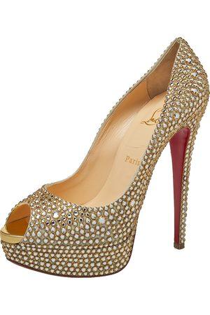 Christian Louboutin Women Pumps - Crystal Embellished Lady Peep Toe Aurora Boreale Platform Pumps Size 39.5