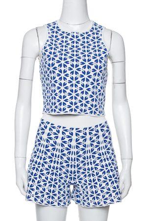 Alexander McQueen & Navy Blue Embossed Floral Jacquard Crop Top and Short Set S