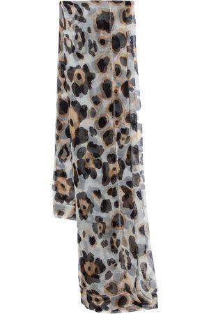 Armani Ivory Leopard Print Silk Organza Square Scarf