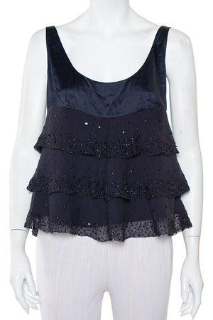 Diane von Furstenberg Navy Silk Sequin Embellished Tiered Sleeveless Latiera Top M