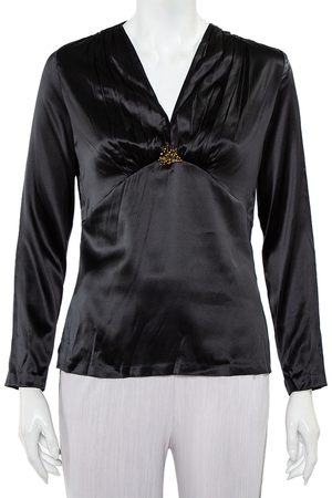 Roberto Cavalli Satin Ruche Detail Long Sleeve Top L