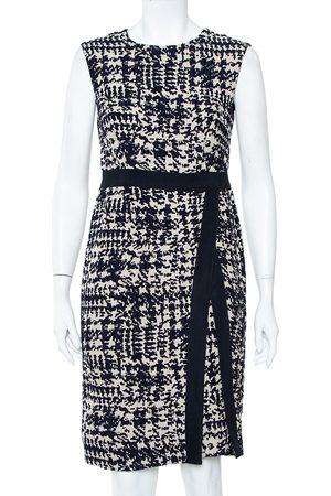 Carolina Herrera Women Sleeveless Dresses - CH Navy & Beige Wool Jacquard Sleeveless Sheath Dress M