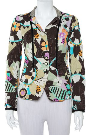Etro Abstract Printed Synthetic & Cotton Button Front Blazer M