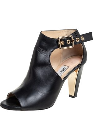 Jimmy Choo Women Ankle Boots - Leather Belted Detail Open Toe Ankle Boots Size 35