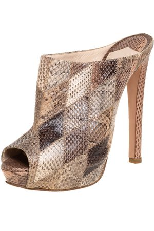 Prada Women Sandals - Python Platform Slide Open Toe Sandals Size 38