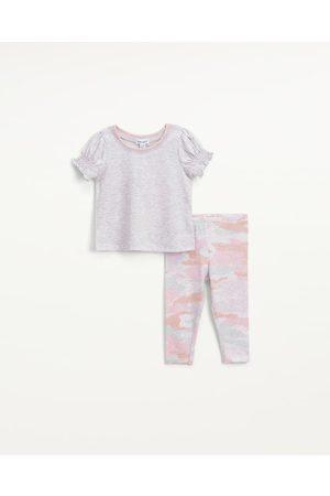 Splendid Infant Girls Infant Girl Pastel Camo Legging Set Ice Grey Heather - Size 3m-6m