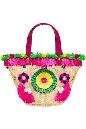 Dolce & Gabbana Embellished Raffia Tote Bag