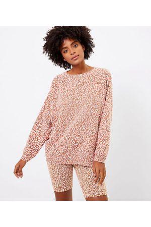 LOFT Women Sweatshirts - Petite Lou & Grey Leopard Print Oversized Terry Sweatshirt