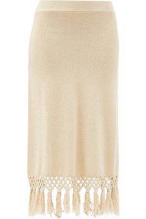 JoosTricot Macramé-hem Knitted Linen-blend Skirt - Womens - Light