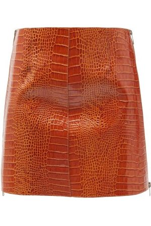 Givenchy Women Mini Skirts - Crocodile-effect Leather Mini Skirt - Womens
