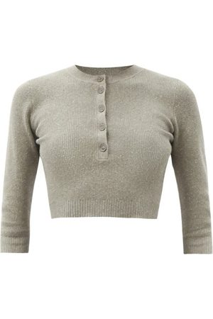 JoosTricot Ribbed Cotton-blend Cropped Top - Womens - Khaki