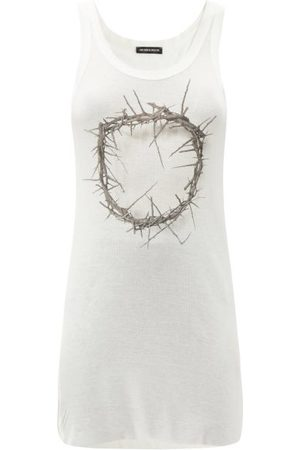 ANN DEMEULEMEESTER Thorn-print Ribbed Rayon-blend Tank Top - Womens