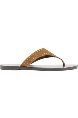 Saint Laurent Gia Studded Suede Sandals - Womens