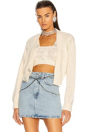 Alessandra Rich Wool Knit Cropped Cardigan in Ivory