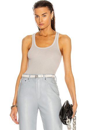 AGOLDE Rib Tank Bodysuit in Light Grey