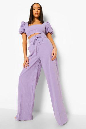 Boohoo Women Wide Leg Pants - Womens Linen High Waist Wide Leg Pants - - 4