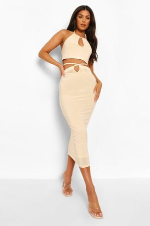 Boohoo Womens Double Layer Slinky Crop & Cut Out Midi - - 4