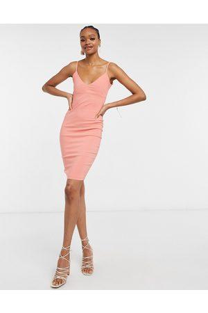 Vesper Body-conscious strappy midi dress in coral