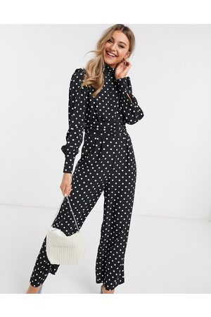 ASOS Ruched waist detail jumpsuit in dot print-Multi