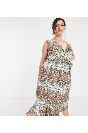 Chi Chi London Wrap midi dress in animal print-Multi