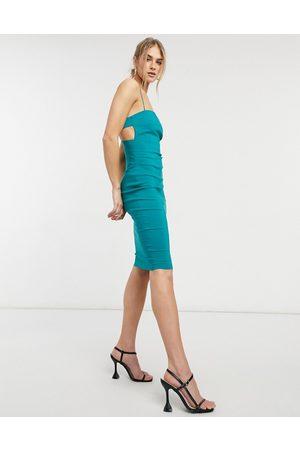 Vesper Strappy midi dress in jade