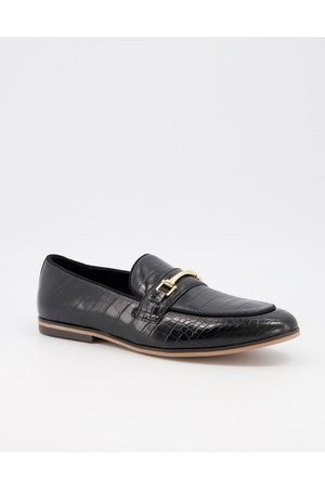 ASOS Loafers in faux leather with croc effect on natural sole
