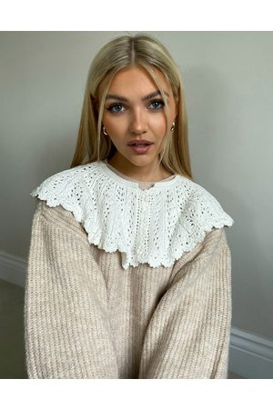 ASOS Sweater in rib with crochet collar detail in oatmeal