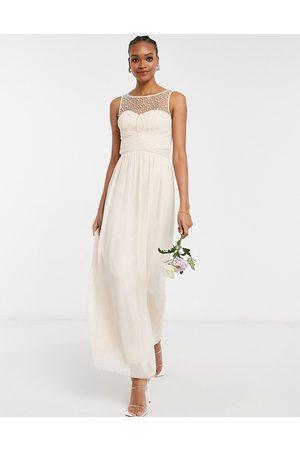 Little Mistress Women Maxi Dresses - Bridesmaid chiffon maxi dress with pearl embellishment in blush