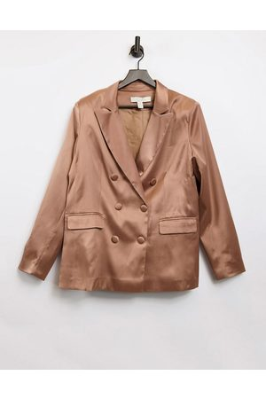 Liquorish Tailored satin blazer in brown
