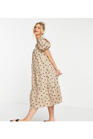 Influence Puff sleeve cotton poplin midi dress in stone polka dot