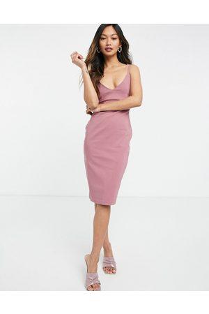 Vesper Body-conscious strappy midi dress in rose