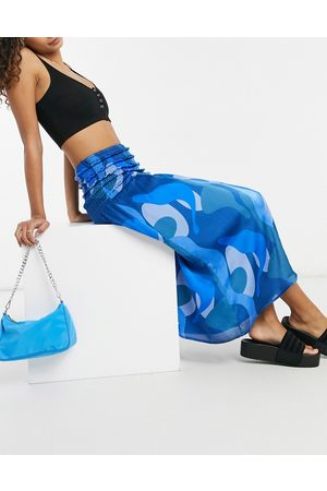 Never Fully Dressed Matching shirred midi skirt in blue abstract print-Blues