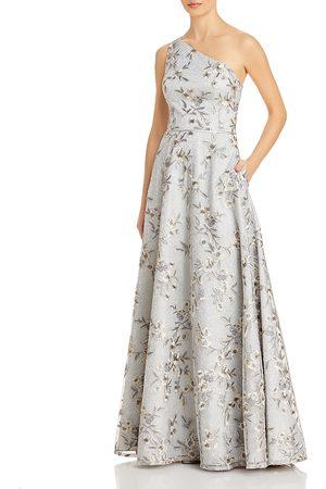 Aidan Mattox Women Printed Dresses - One Shoulder Floral Metallic Gown