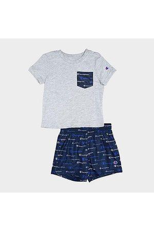 Champion Boys' Infant Multi-Color Script Logo Pocket T-Shirt and Shorts Set in Grey/Grey