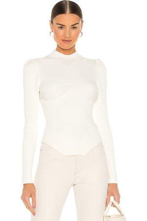 FLEUR DU MAL Corset Sweater in Ivory.