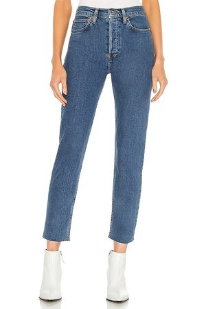 RE/DONE 90s High Rise Ankle Crop in Blue.