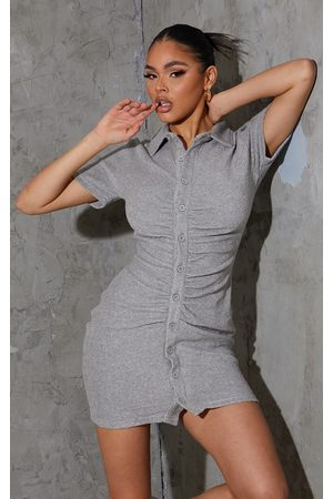 PRETTYLITTLETHING Grey Ruched Button Down Collar Detail Towelling Bodycon Dress