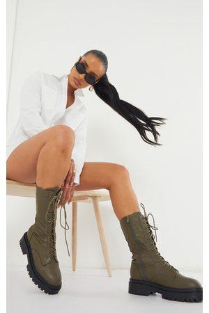 PRETTYLITTLETHING Khaki Calf High Lace Up Chunky Biker Boots