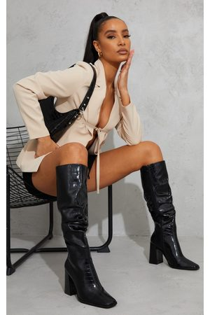 PRETTYLITTLETHING Women Thigh High Boots - High Block Heel Croc Knee High Boots