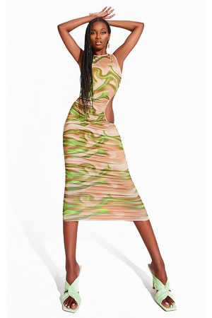 PRETTYLITTLETHING Women Printed Dresses - Printed Ruched Cut Out Midi Dress