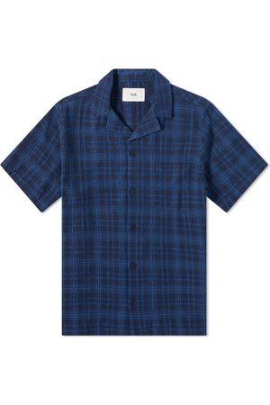 Folk Men Shirts - Indigo Boucle Soft Collar Vacation Shirt