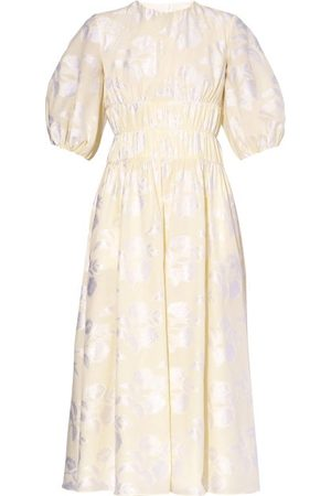 Erdem Theodosia Puff-sleeve Floral Fil-coupé Midi Dress - Womens - Ivory
