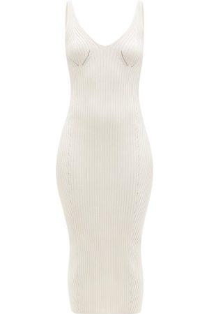 Balmain Back-zip Rib-knitted Midi Dress - Womens - Ivory