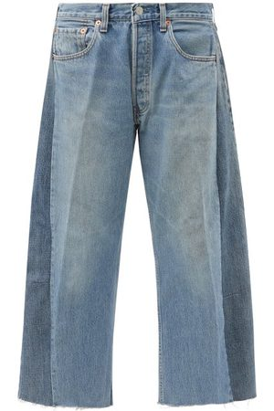 B SIDES Lasso Upcycled Cropped Relaxed-leg Jeans - Womens - Denim