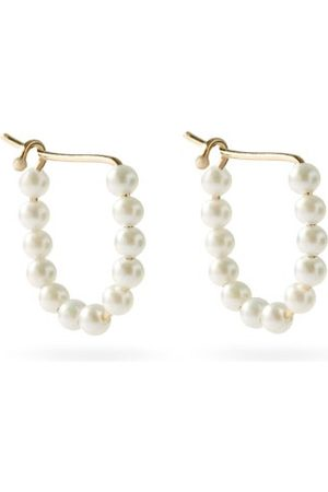 Mizuki Pearl & 14kt Gold Hoop Earrings - Womens - Pearl