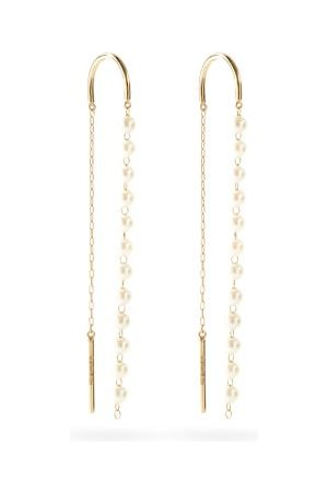 Mizuki Women Earrings - Akoya-pearl & 14kt Gold Threader Earrings - Womens - Pearl